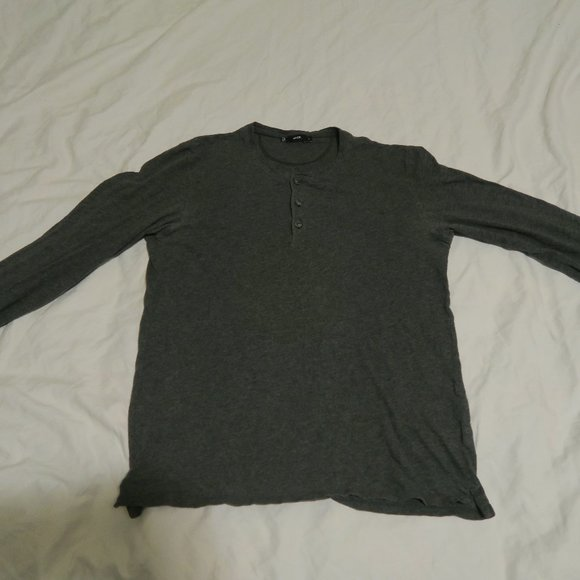 Vince 3-Button Long Sleeve Henley Shirt Cotton